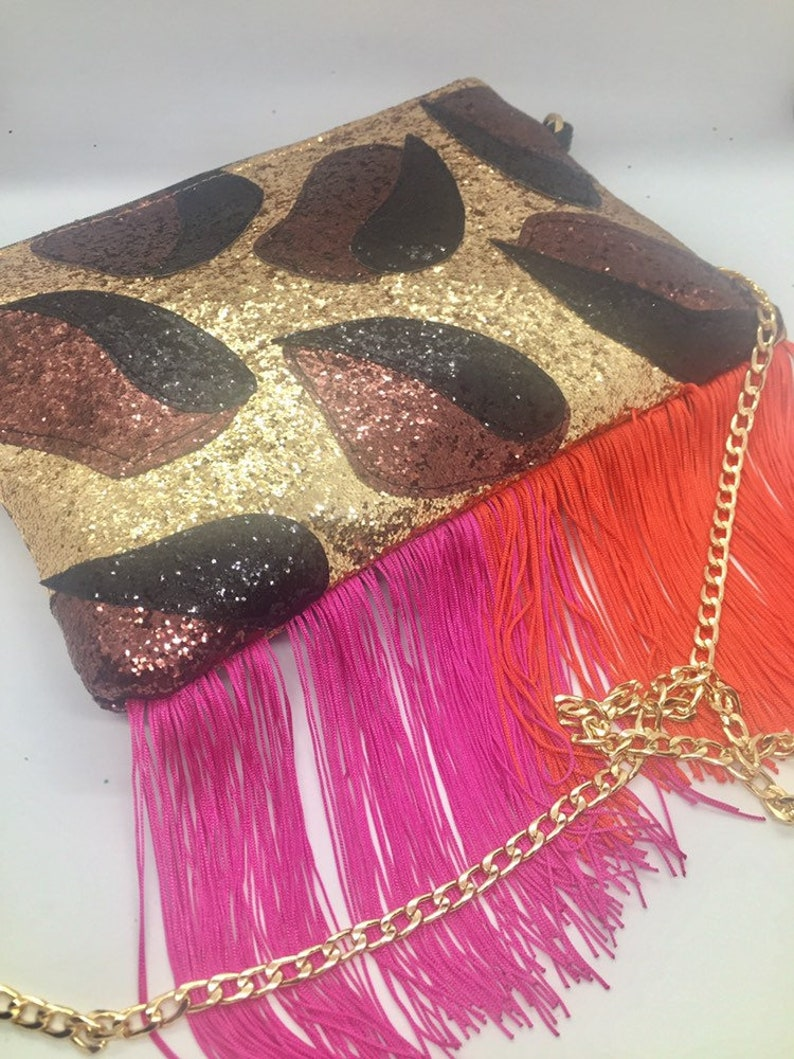 Leopard glitter red and pink tassel bag
