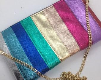 Custom made faux leather rainbow metallic bag