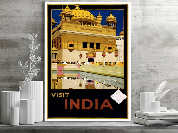 VI02 VINTAGE VISIT INDIA INDIAN TRAVEL A4 POSTER PRINT