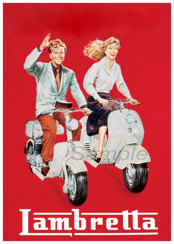 Vintage French Lambretta Advertisement Poster A3//A4 Print