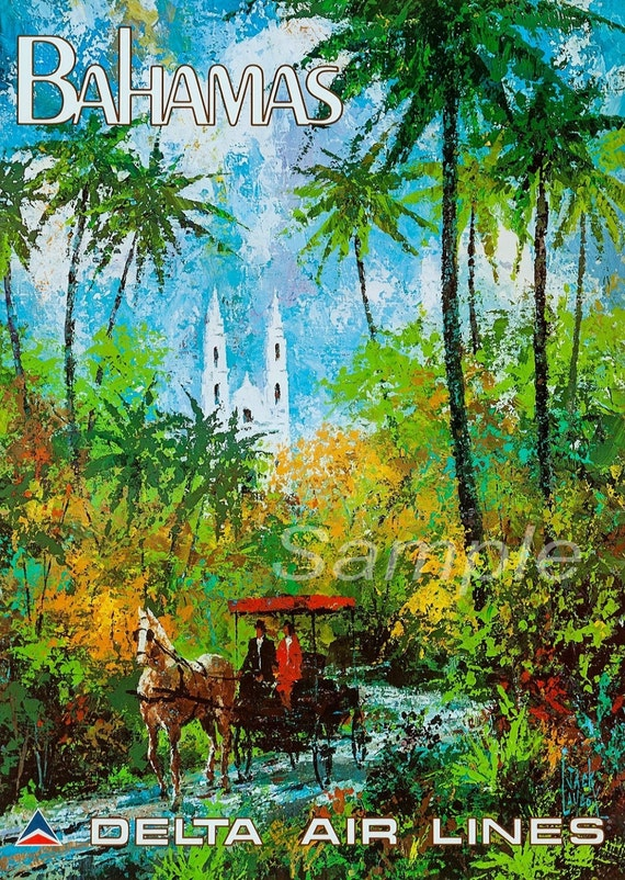VINTAGE CUBA DELTA AIR LINES TRAVEL A4 POSTER PRINT
