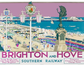 BH02 Vintage Brighton and Hove Southern Railway Poster Print