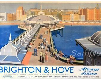 Vintage Brighton and Hove Railway Poster Print