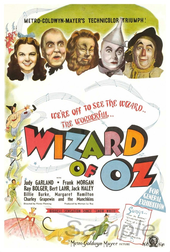 VINTAGE 1939 THE WIZARD OF Oz A3 POSTER PRINT