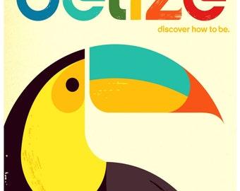 Vintage Belize Travel Poster Print