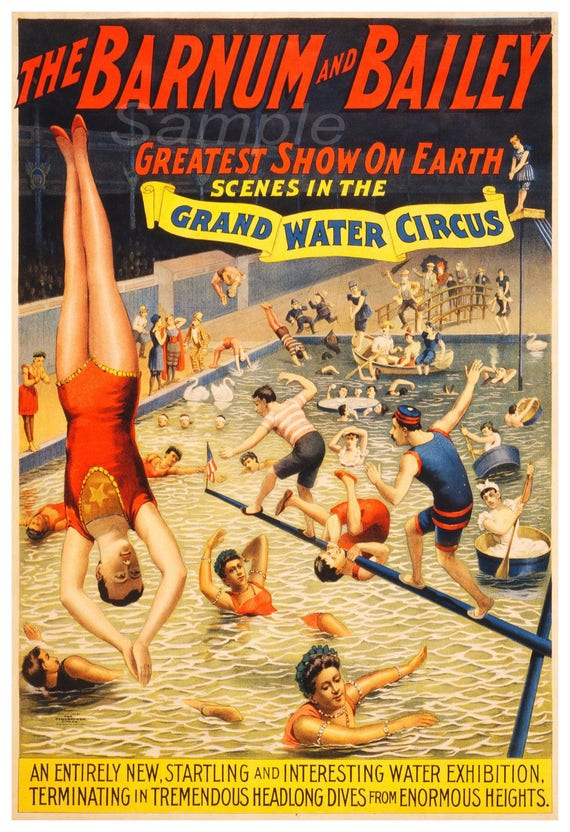 Vintage Grand Water Circus Barnum And Bailey Advertising Etsy