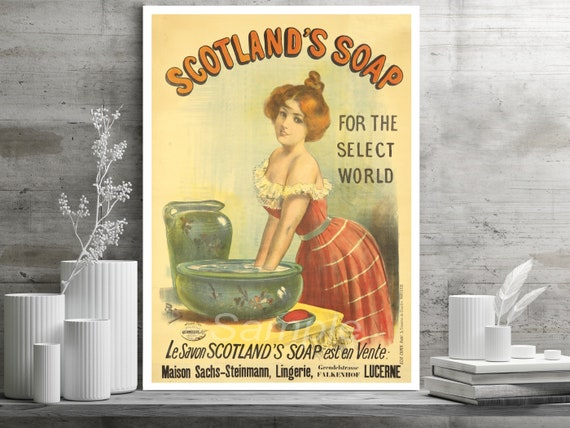 Vintage advert Reproduction poster Wall art. Scotland's Soap