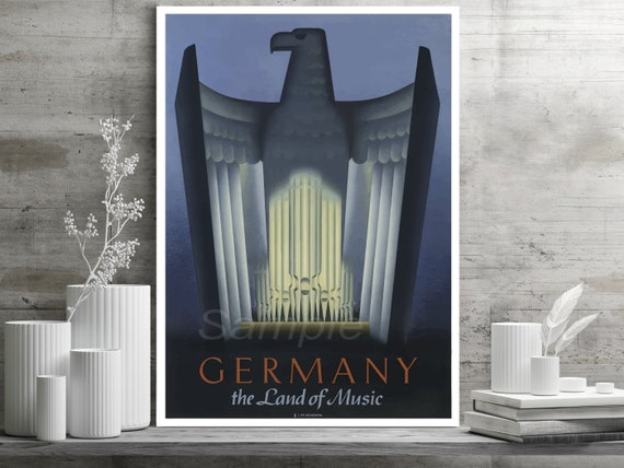 VINTAGE GERMANY THE LAND OF MUSIC TRAVEL A2 POSTER PRINT