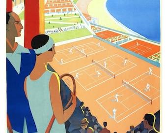 Vintage Monte Carlo Tennis Poster Print