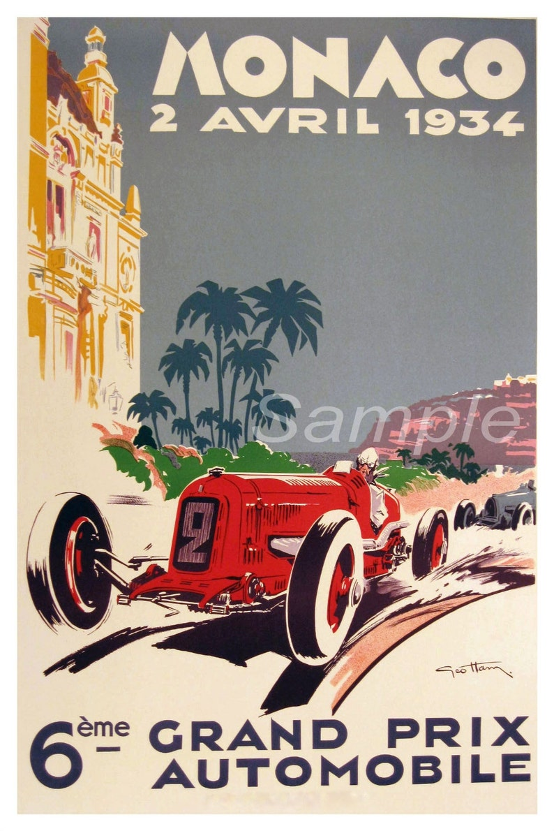 VINTAGE 1934 MONACO GRAND PRIX A4 POSTER PRINT