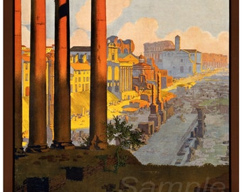Vintage Rome Italy Travel Poster Print