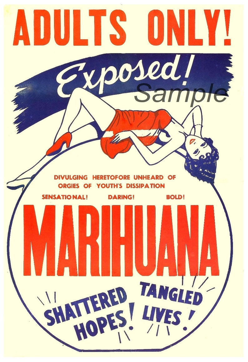 Reefer Madness 1950s Vintage Marijuana Adult Film Movie Poster A4 Art Reprint
