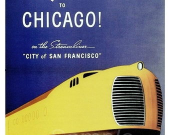 Vintage Southern Pacific Chicago Railway Poster Print
