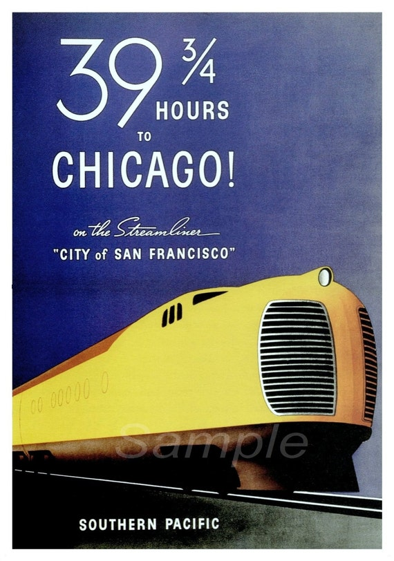 VINTAGE SOUTHERN PACIFIC CHICAGO USA RAILWAY A4 POSTER PRINT