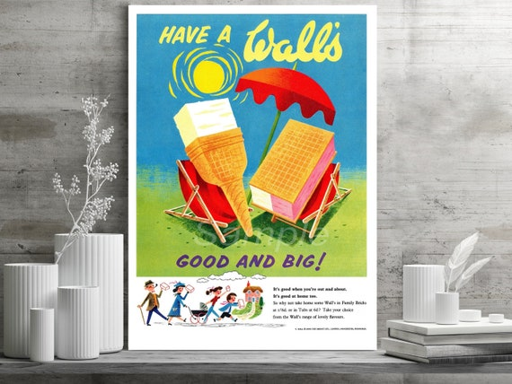 VINTAGE HAVE A WALL/'S ICE CREAM ADVERTISING A3 POSTER PRINT
