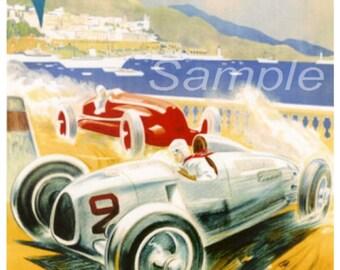 Vintage 1936 Monaco Grand Prix Racing Poster Print