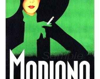 Vintage Modiano Cigarettes Advertising Poster Print