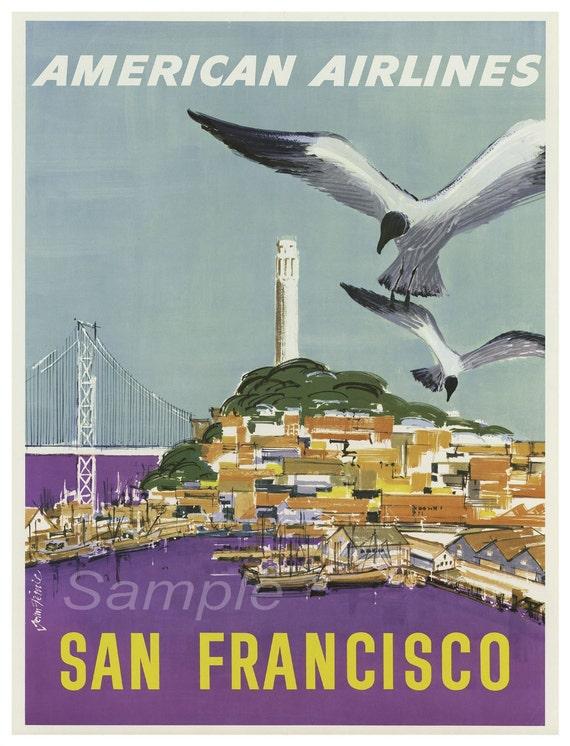 SF03 VINTAGE SAN FRANCISCO UNITED AIR LINES TRAVEL A2 POSTER PRINT