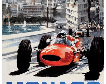 Vintage 1965 Monaco Grand Prix Racing Poster Print