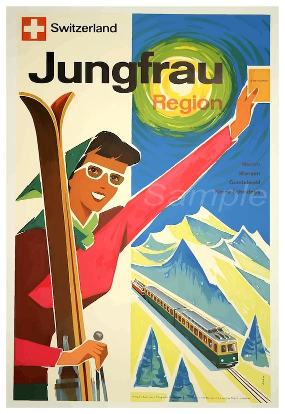VINTAGE SWITZERAND JUNGFRAU REGION SKI TRAVEL A4 POSTER PRINT