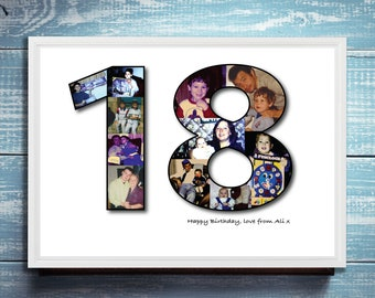 18th Birthday Photo Collage print / a3 print / a4 print / gifts for him / gifts for her / birthday / personalised / special birthday /