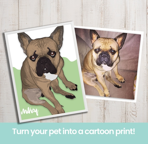 Personalised Cartoon Style Pet Print Dog Print Gifts For Etsy
