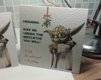 Handmade Personalised  Yoda Star Wars Christmas card (Mistletoe Yoda) - Personalised or non-personalised