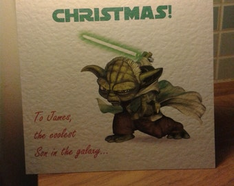 Handmade Yoda (Saber) Star Wars Christmas card - Personalised or Non-Personalised