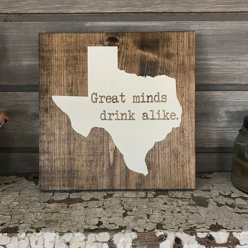 Great Minds Drink Alike Hand-Painted Wooden Sign  bar lover image 0
