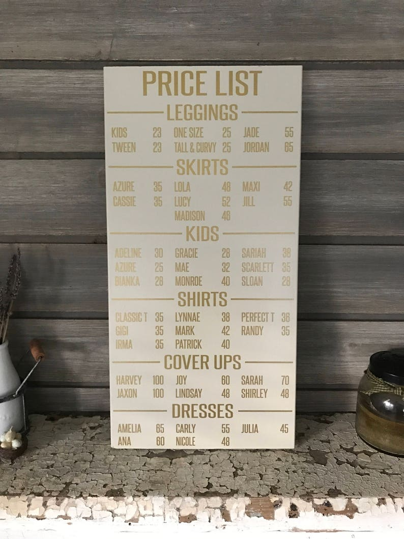 LLR PRICE LIST Seller Wooden Sign Consultant / Retailer image 0