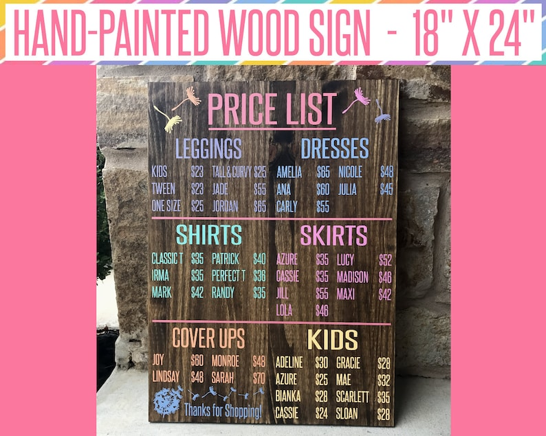 LLR PRICE LIST Seller Wooden Sign Consultant / Retailer image 0