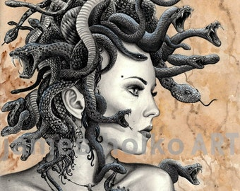 Medusa Drawing Etsy Highlight your appreciation of mythology with these fine art drawings of medusa. medusa drawing etsy