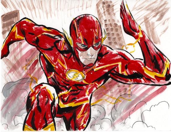 The Flash Dc Superhero Art Print Etsy