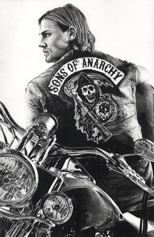 Sons Of Anarchy Drawing Jax Tv Charlie Hunnam Soa Art Artwork Etsy