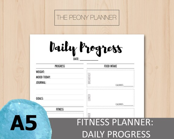 printable fitness daily progress planner insert a5 size etsy