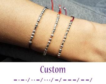 Custom Morse Code Bracelet, Dainty Bracelet, Morse code bracelet, Morse code Jewelry, Personalized Jewelry,  Beaded Bracelet