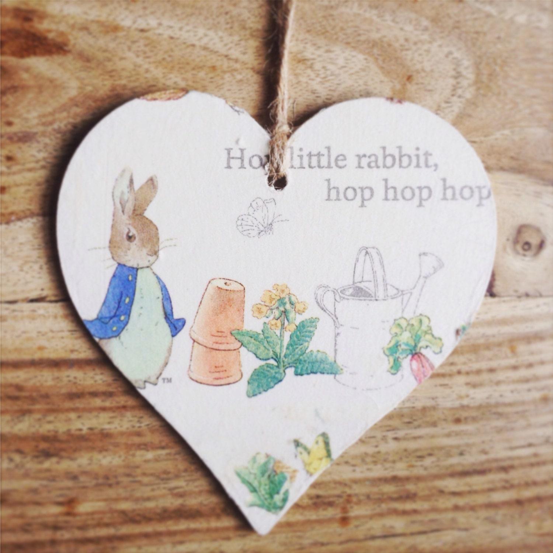 Peter Rabbit Decoupage Wall Hanging Sign Heart Twine Beatrix Potter Jemima  Puddleduck