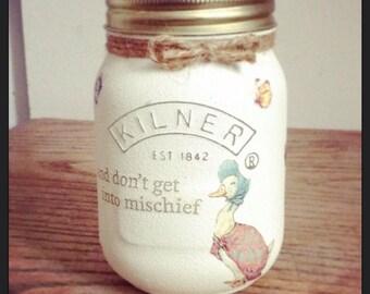 Peter Rabbit Decoupage Kilner Mason Jar Beatrix Potter, small, Baby Gift Nursery