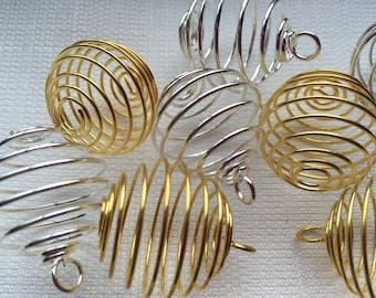 JB098 Spiral Pendant,Single Strand Spiral,Gold Plated brass Coil charm,4050mm length Wire Pendant for Earrings Making Charms 6 Pcs