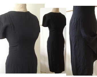 e5c50d5b8b4a Elegant vintage 1940s 1950s black dress, highly fitted, with front and back  over panel/flap detail, crew neckline / Secretary / Wiggle / W24