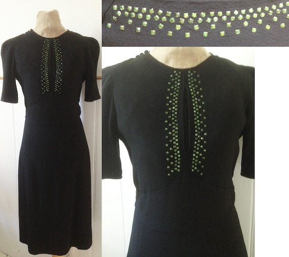 Vintage 1940s late 1930s black crepe and green dia