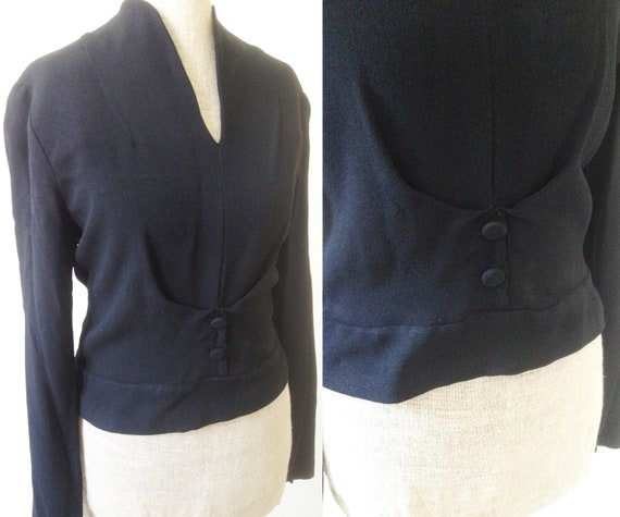 Vintage late 1940s early 1950s black crepe blouse… - image 1