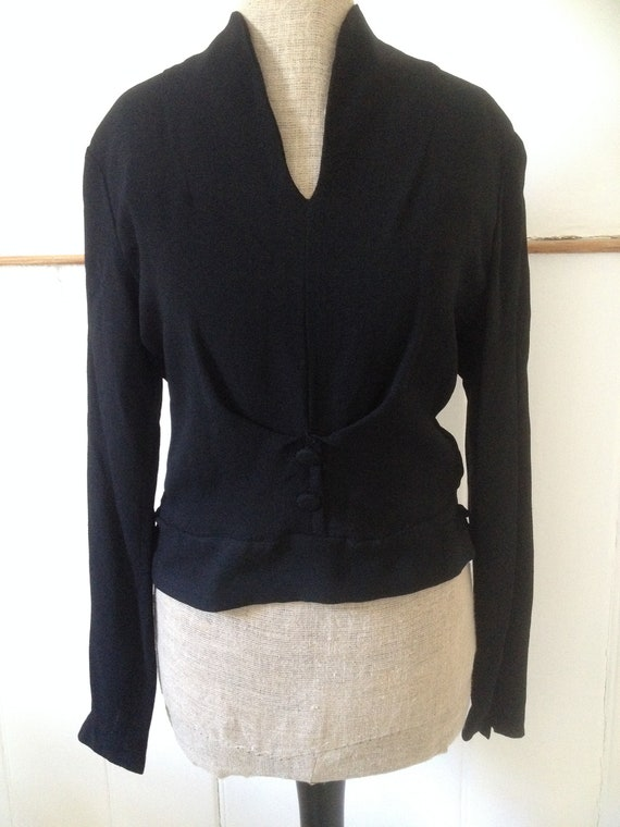 Vintage late 1940s early 1950s black crepe blouse… - image 3