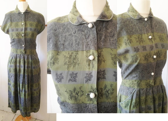 Vintage 1940s cotton summer dress / grey green