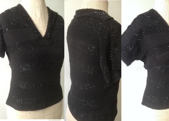 Vintage 1940s 1950s black beaded jumper top 30s 40