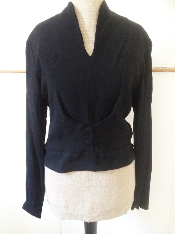 Vintage late 1940s early 1950s black crepe blouse… - image 4