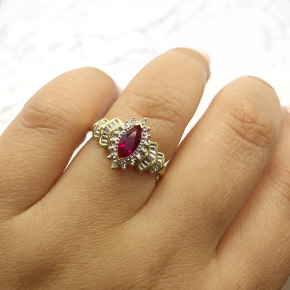 14k Vintage Art Deco Marquise Ruby and Diamond Rin