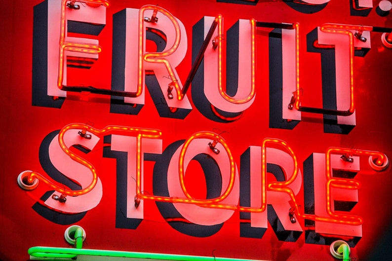 Neon Sign photography, arts and collectibles, Fruit Store, americana,  vintage, classic, bright, fruit, healthy eating