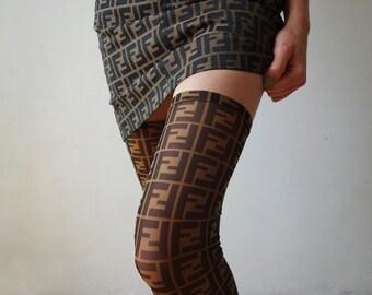 653af3c3c Desinger Inspired Fendi Zucca Monogram Mesh Socks Stockings Hand Made