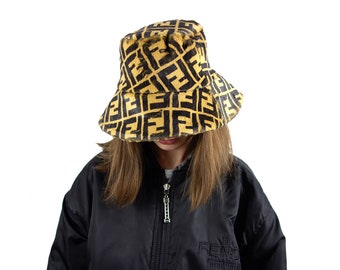 5efa9194892 Designer Inspired Monogram Fendi Faux Fur Hat Bucket Hat Logo Print  Polyester Brown Black Zucca